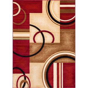 Daniel Red Arcs & Shapes Area Rug