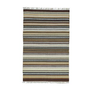 Look for Lolotoe Striped Durie Kilim Flat Weave Hand-Knotted Brown/Off White Area Rug ByBloomsbury Market