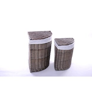 Uvalda Corner Wicker Laundry Set By Brambly Cottage
