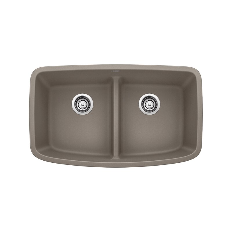 "Blanco Valea 32"" L  x  19"" W Double Basin Undermount Kitchen Sink  Finish: Truffle"