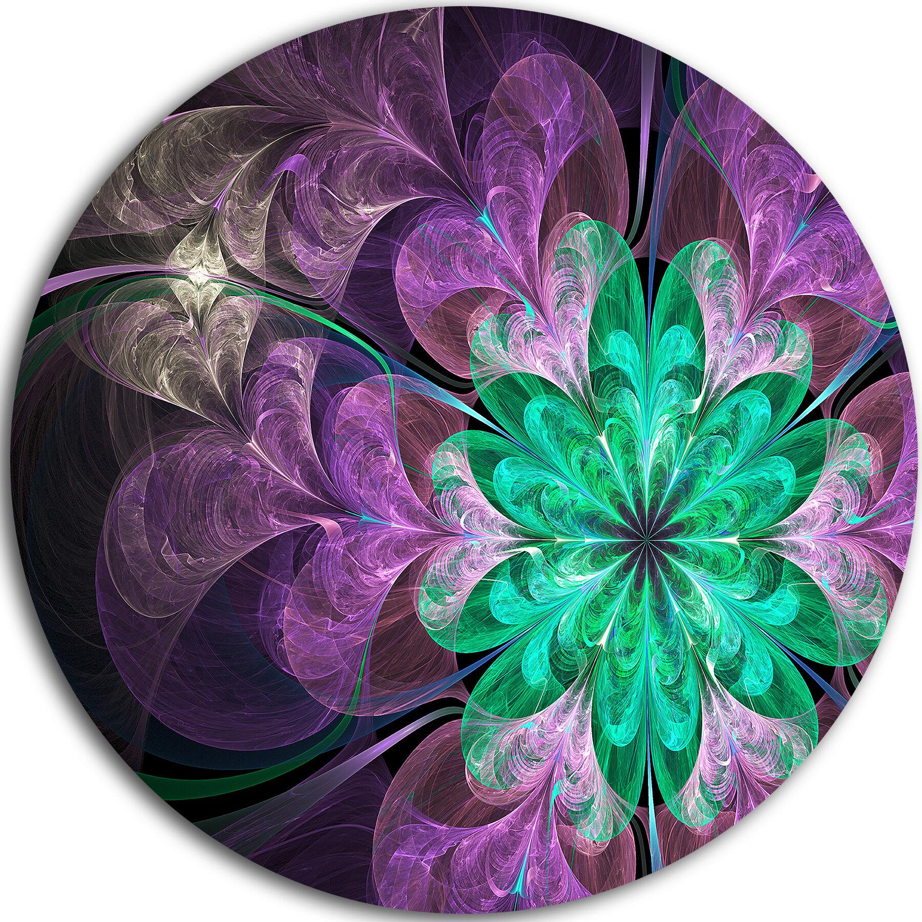 Designart Glittering Purple Green Fractal Flower Graphic Art Print On Metal Wayfair