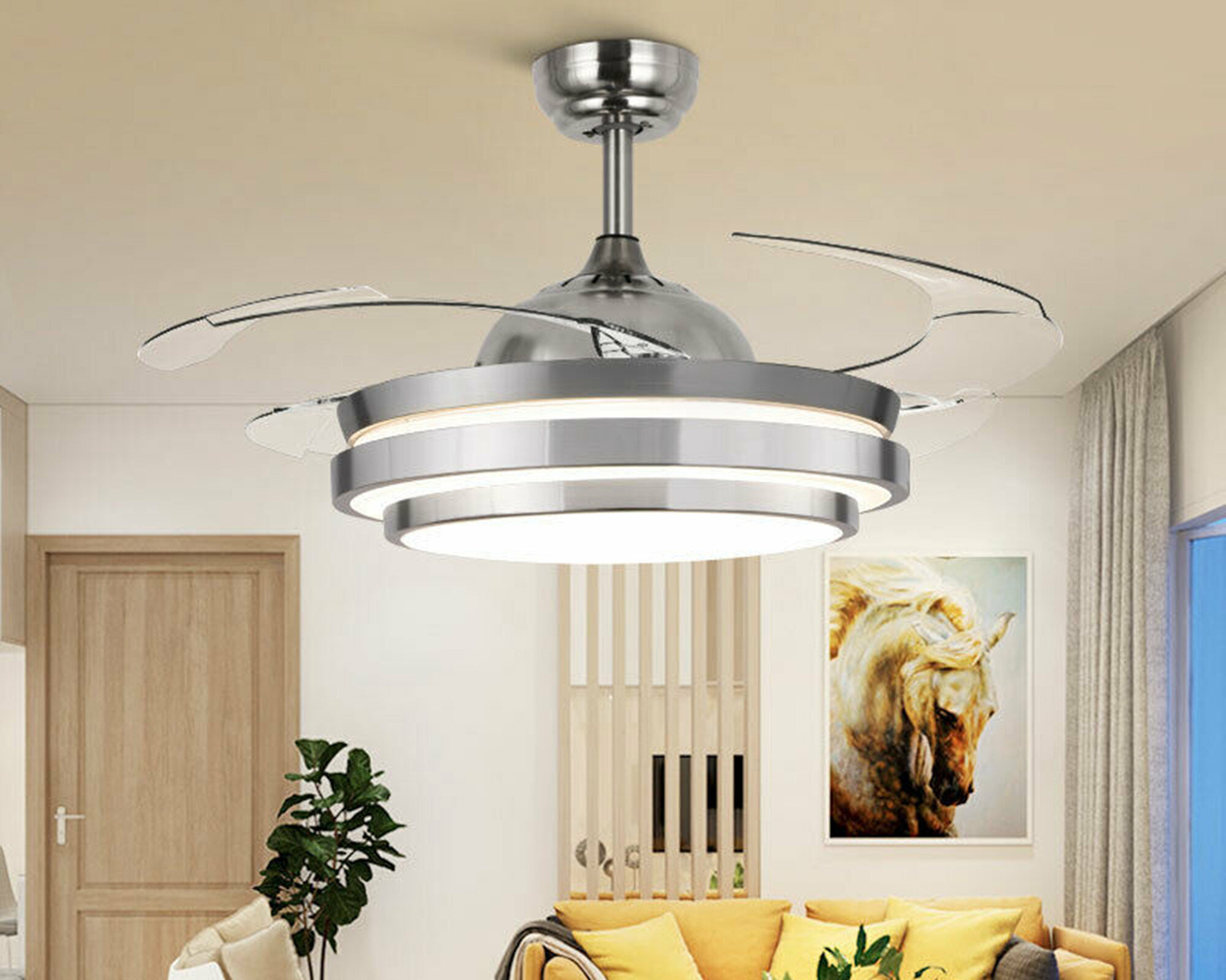 Orren Ellis 36 Aadin 4 Blade Led Retractable Blades Ceiling Fan With Remote Control And Light Kit Included Reviews Wayfair