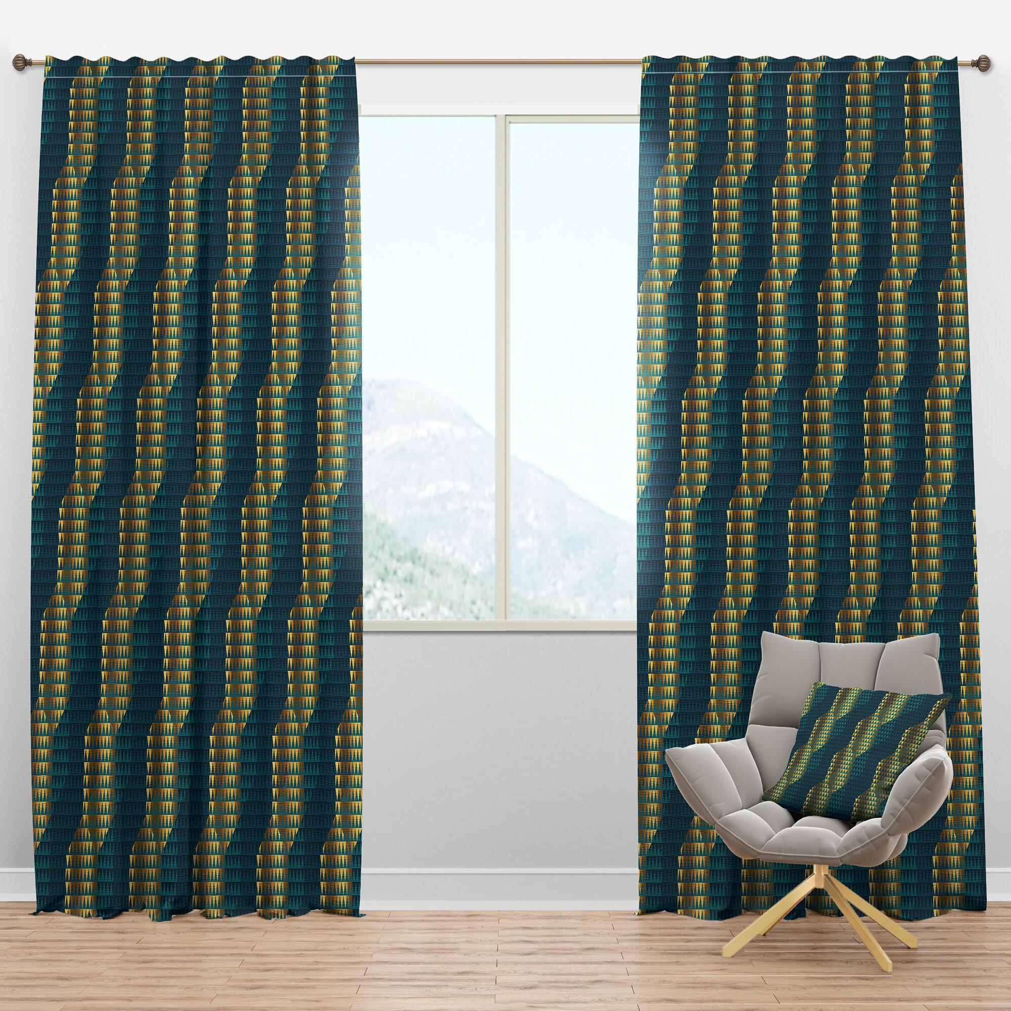 Designart Mid Century Hexagon V Geometric Semi Sheer Thermal Rod Pocket Curtain Panels Wayfair
