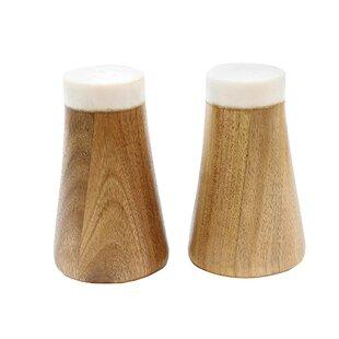 Elements 2 Piece Marble/Acacia Salt & Pepper Shaker Set