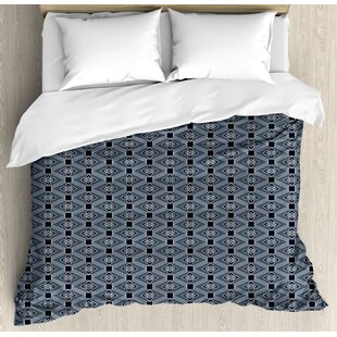 Japanese Diamond Line Pattern with Squares and Abstract Graphic Flowers Duvet Set by East Urban Home