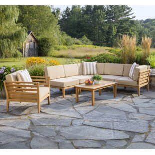 Bali 7 Piece Teak Sectional Set with Cushions