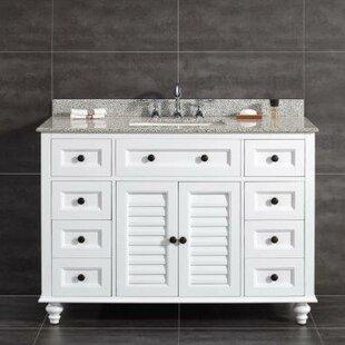 Heather 48 Single Tiger Granite Top and Rectangular Basin Vanity Set by Ove Decors