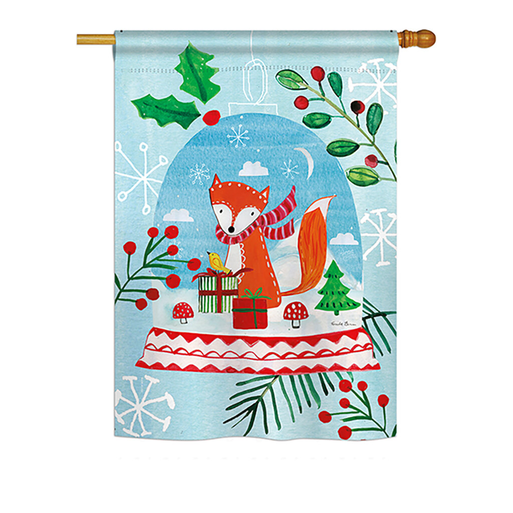 Breeze Decor Snow Globe Fox Winter Vertical American 2 Sided Polyester 40 X 28 In Garden Flag Wayfair