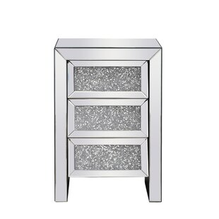 Noel Crystal 3 Drawer Nightstand by Rosdorf Park