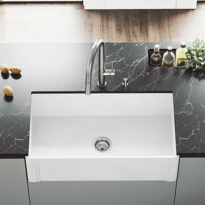 Casement 33 L X 18 W Farmhouse Kitchen Sink With Faucet