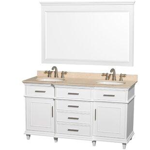 Berkeley 60 Double White Bathroom Vanity Set with Mirror
