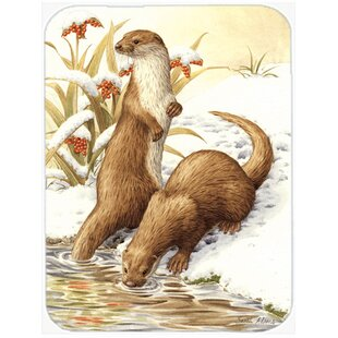 Otters and Gladon Irises Glass Cutting Board ByCaroline's Treasures