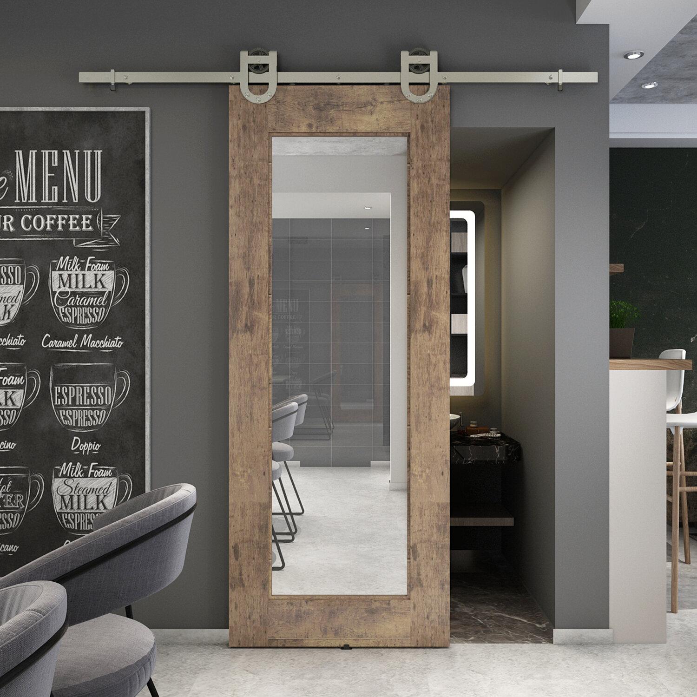 Reflex Mirrored Barn Door without Installation Hardware Kit