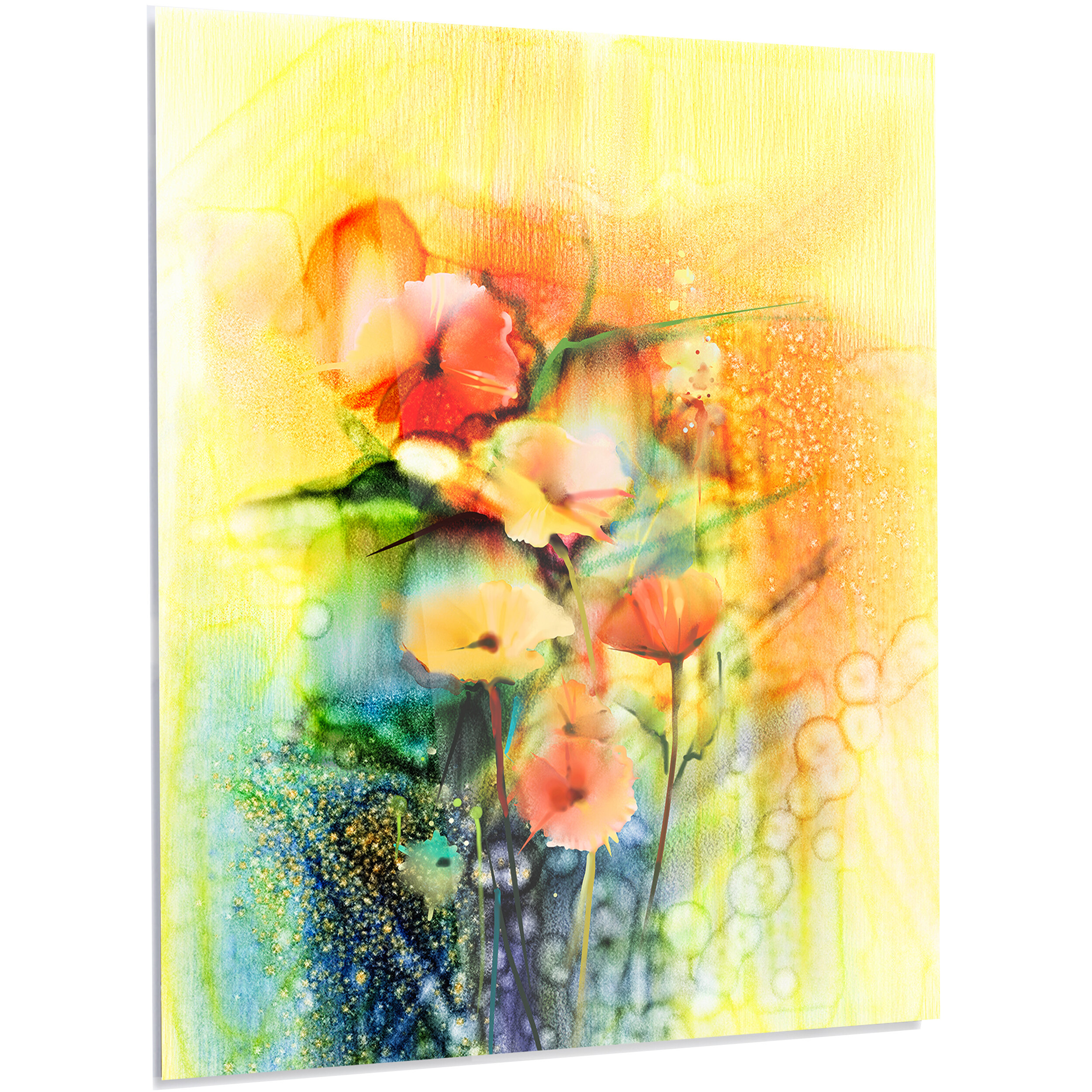 DesignArt \'Colored Watercolor Flowers on Yellow\' LED Painting Print ...