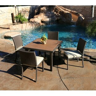 World Wide Wicker Tampa 5 Piece Dining Set with Cushions