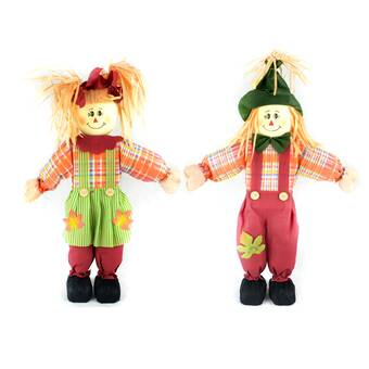 The Holiday Aisle 2 Piece Short Leg Standing Scarecrow Figurine Set Wayfair