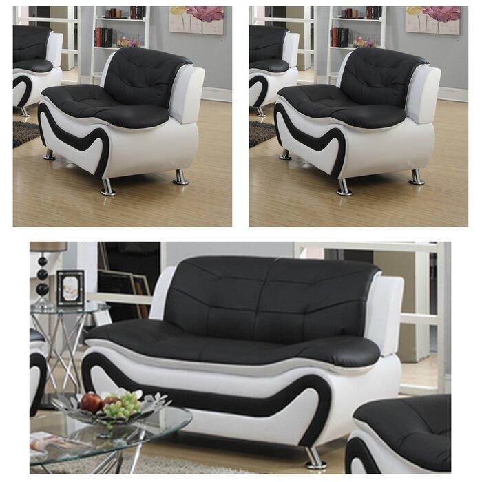 Jung Modern 3 Piece Standard Living Room Set