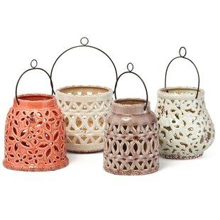 Bungalow Rose Galasso Cutwork 4 Piece Ceramic Lantern Set