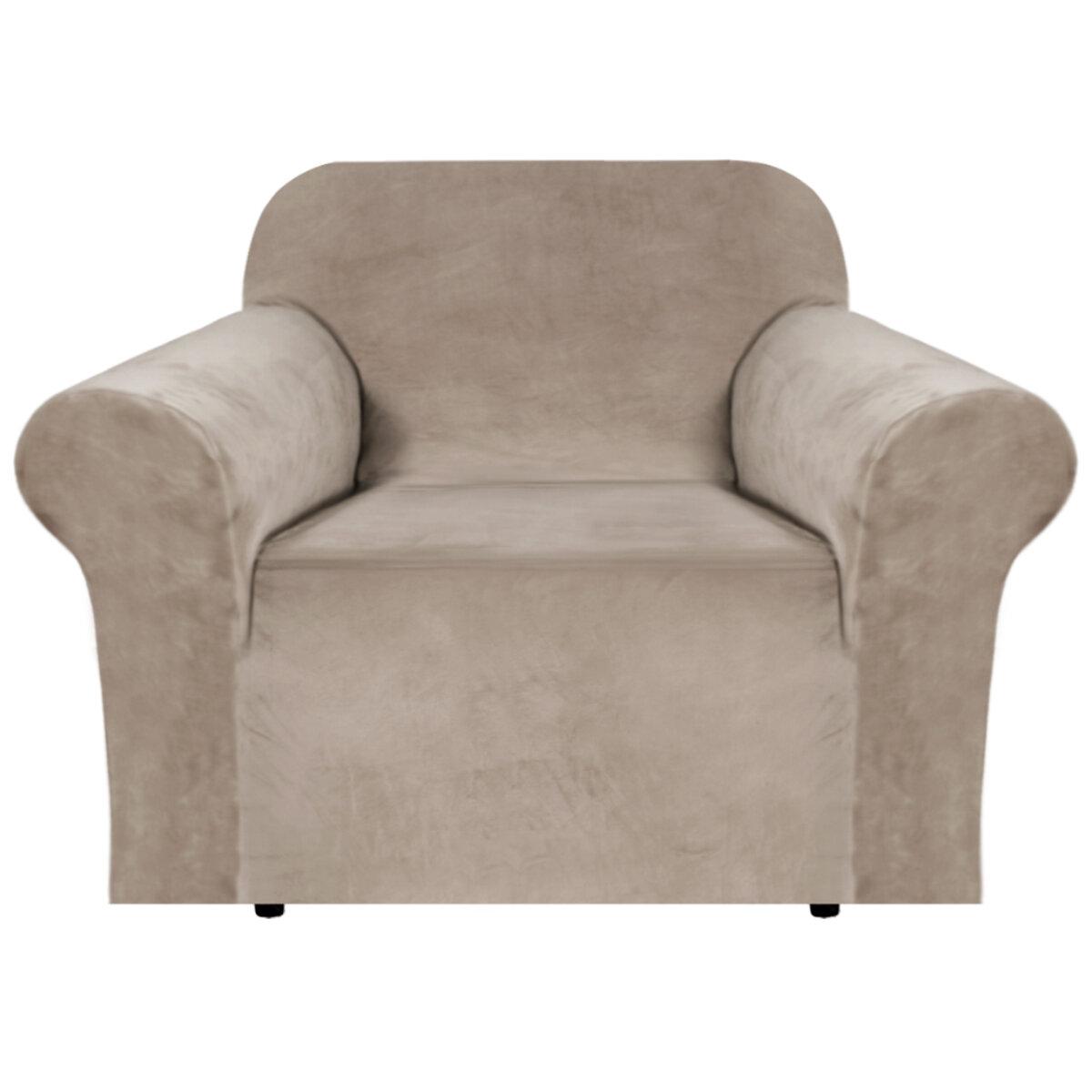 Canora Grey Luxurious Velvet Box Cushion Armchair Slipcover Reviews Wayfair