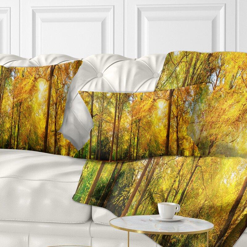 East Urban Home Landscape Photography Gorgeous Autumn Of Sunny Forest Lumbar Pillow Wayfair