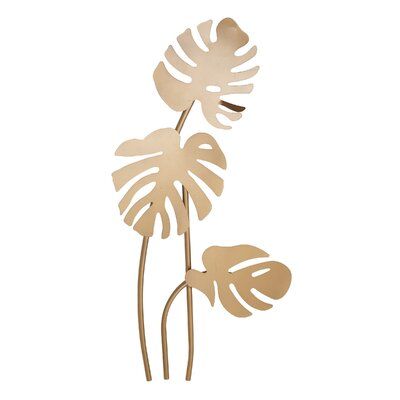 Bay Isle Home Traditional Leaf Metal Wall Decor Color: Gold