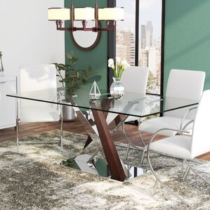 glass kitchen & dining tables you'll love | wayfair