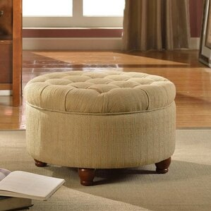Nussbaum Round Button Upholstered Storage Ottoman