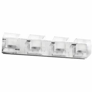 Casey Clear/Frosted Glass Vanity 4-Light Bath Bar Latitude Run