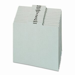 Pressboard Monthly Recycled Top Tab File Guides, 12/Set