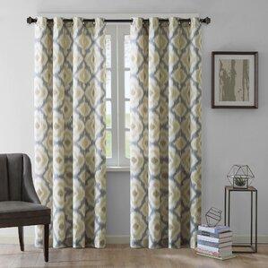 ankara ikat semisheer single curtain panel