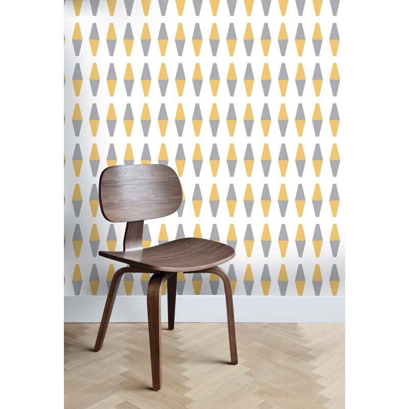 Top 10 Mid-century Modern Wallpaper Ideas / Retro Wallpaper / Retrogeo Diamond Geometric Wallpaper