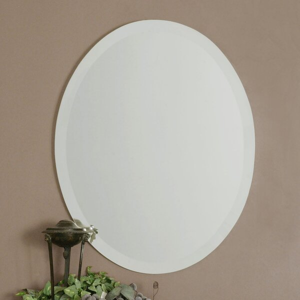 red barrel studio frameless vanity oval wall mirror u0026 reviews wayfair