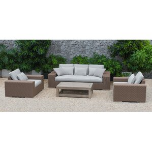 Marden Pelican 4 Piece Deep Seating Group with Cushions