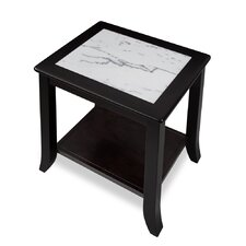 Chisholm Natural Marble Top Wood End Table by Red Barrel Studio