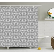 Rhombus Forms in Victorian Stylized Authentic Dual Linked Bound Interior Angle Shapes Shower Curtain Set