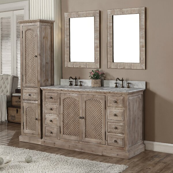Loon Peak Vice 61 Double Bathroom Vanity Set with Linen Tower