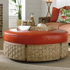 Twin Palms St Barts Leather Ottoman by Tommy Bahama Home