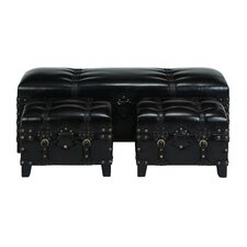3 Piece Leather Bedroom Bench Set by Woodland Imports