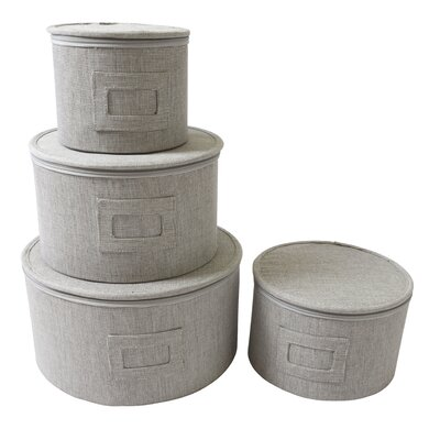 4 Piece Round Plate Storage Case Set by In This Space