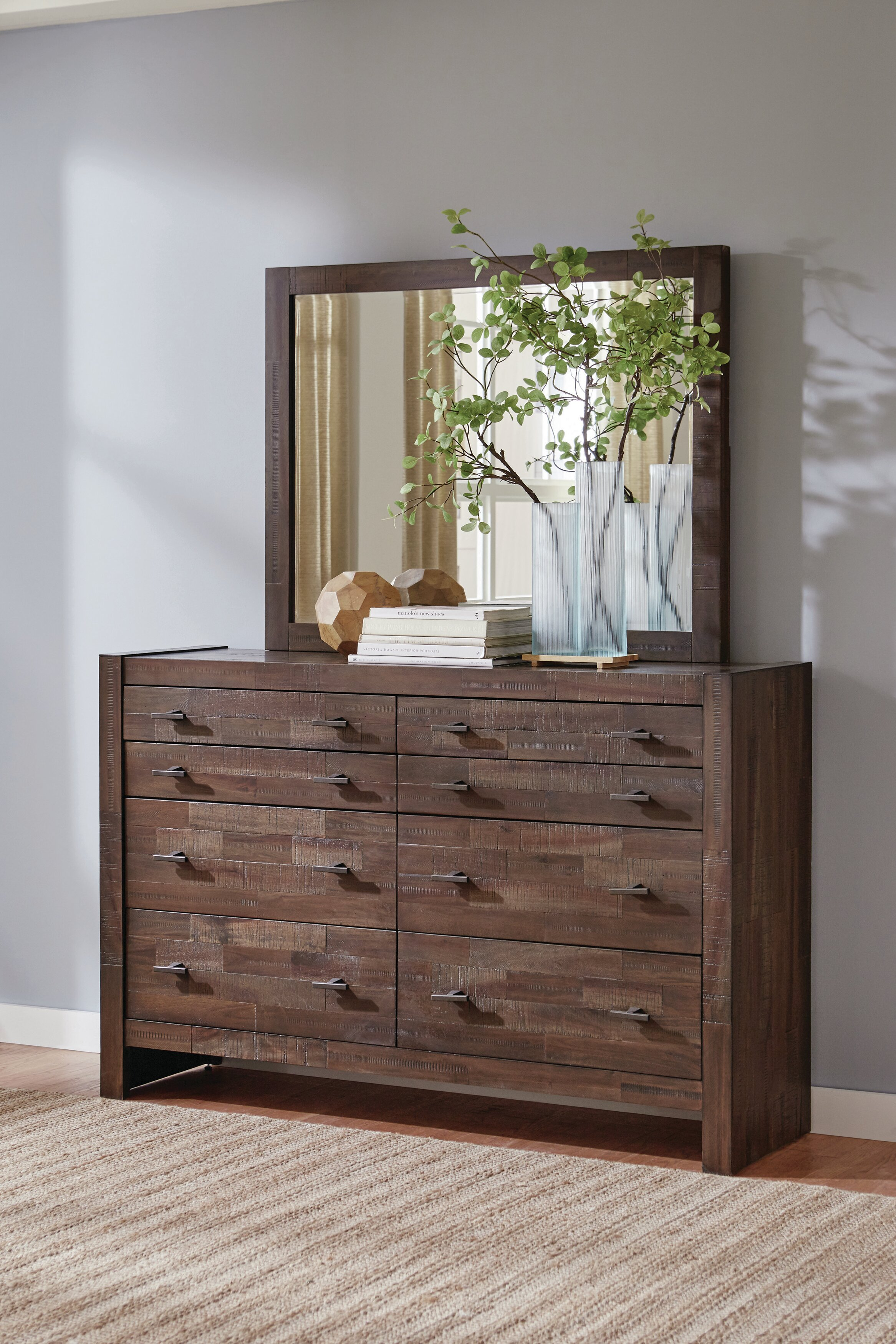 Foundry Select Ishiro 8 Drawer Double Dresser With Mirror Wayfair