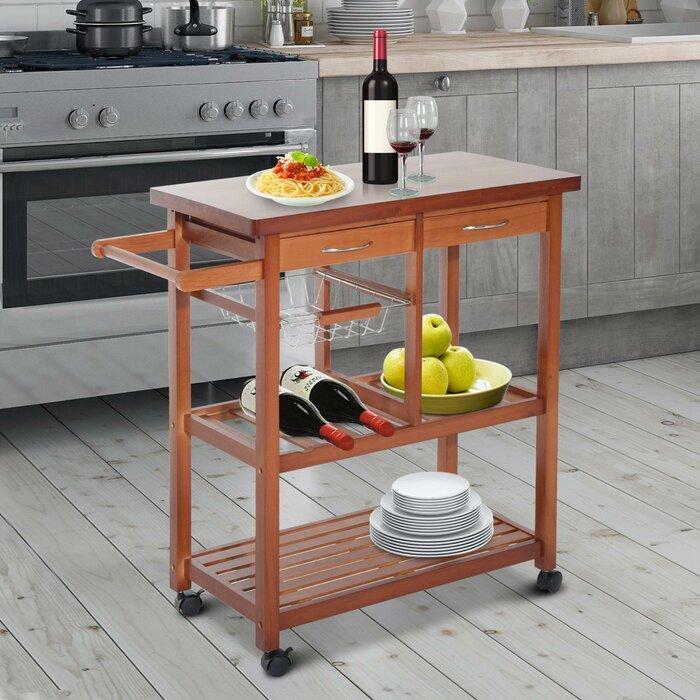 Atlas Wooden Rolling Storage Microwave Kitchen Cart