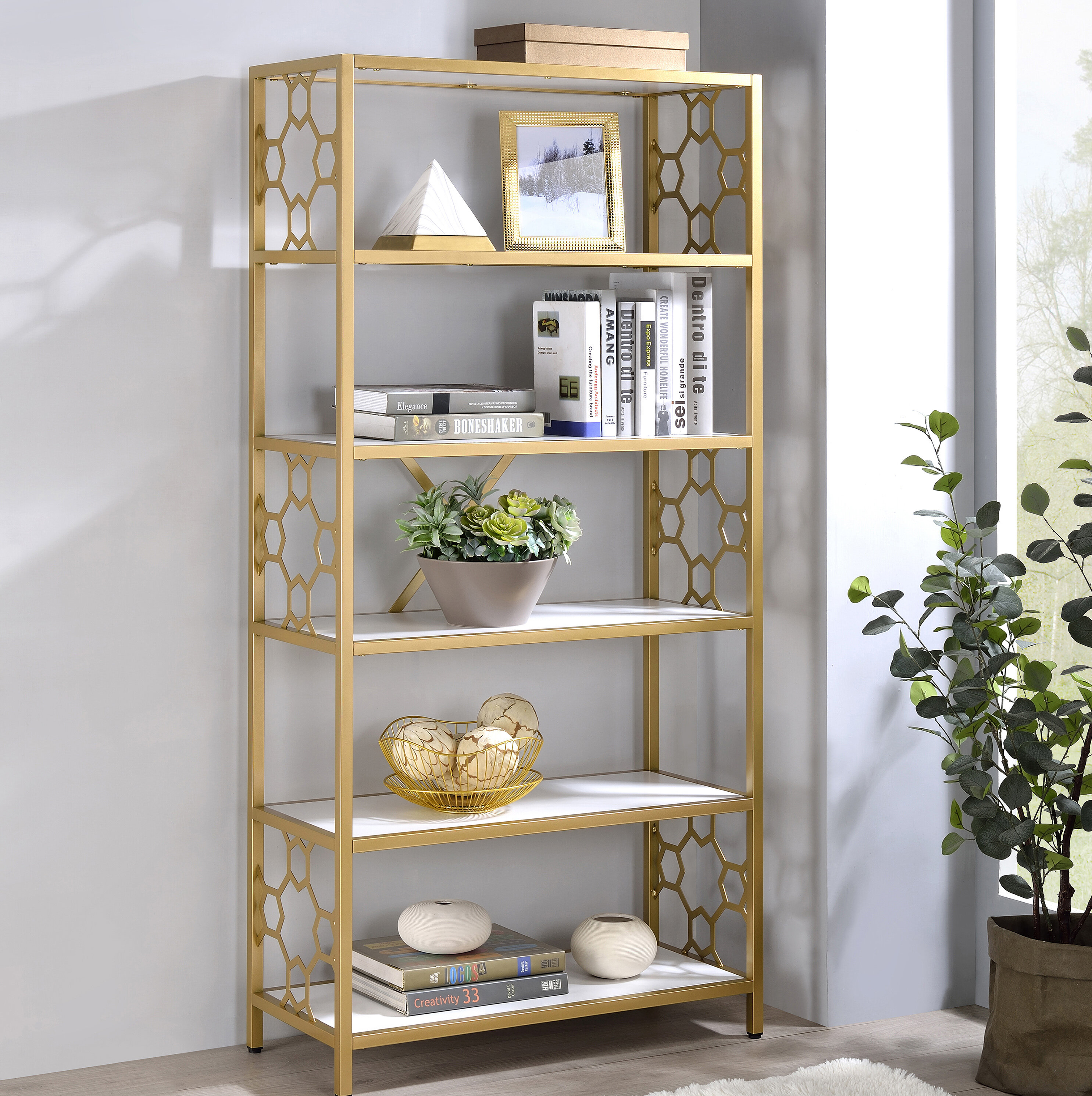 Everly Quinn Israr 62 37 H X 30 W Steel Etagere Bookcase Wayfair