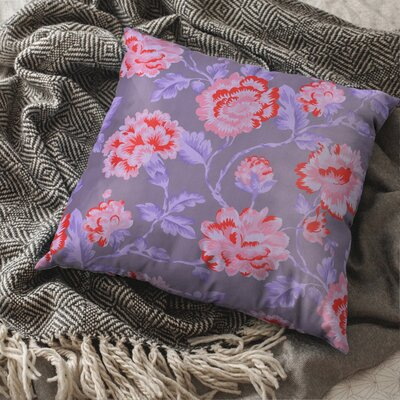 Denim Pillow Cover Faded Floral Pillow