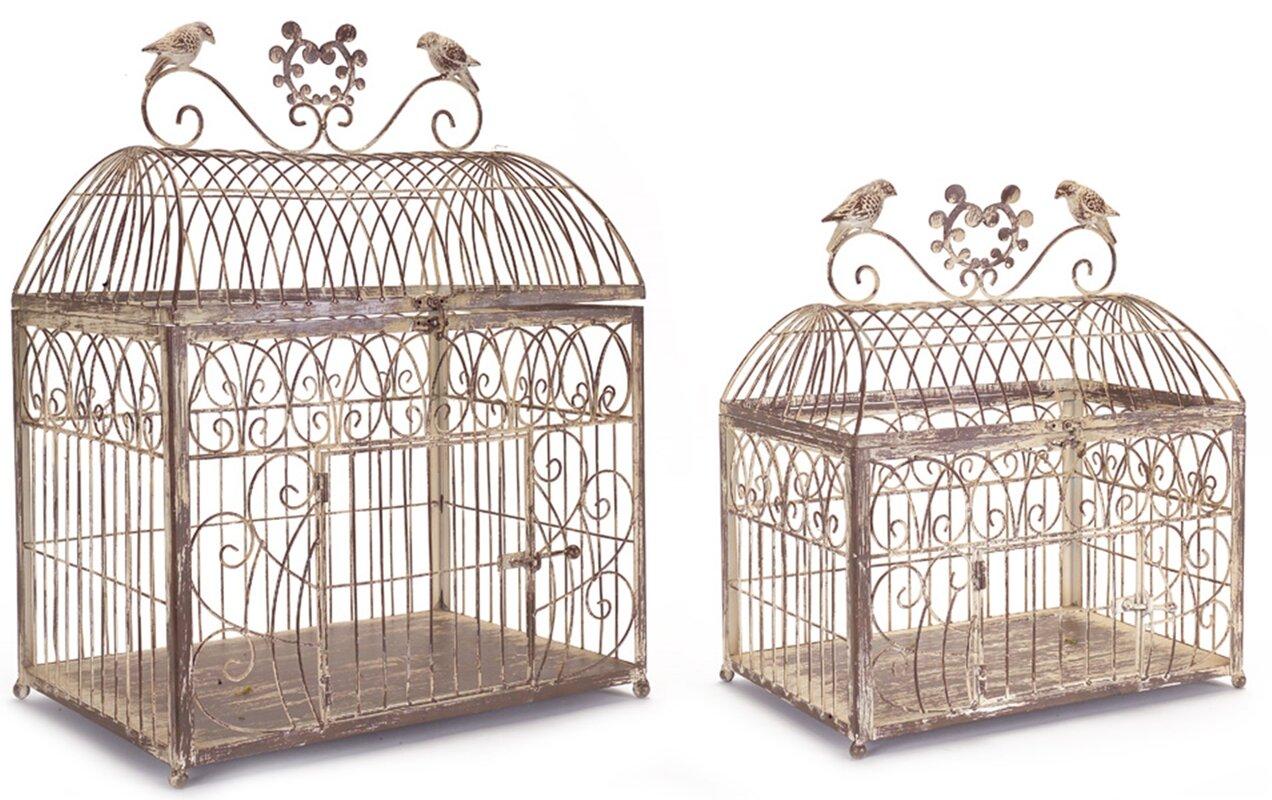 Decorative Bird Cages Part - 46: 2 Piece Rustic Wire Decorative Bird Cage Set