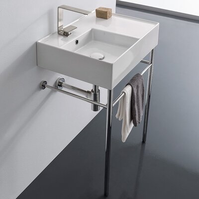 """Mirabelle MIR24191A 24"""" Porcelain Console Bathroom Sink Only with 1  Pre-Cut Fauc,"""
