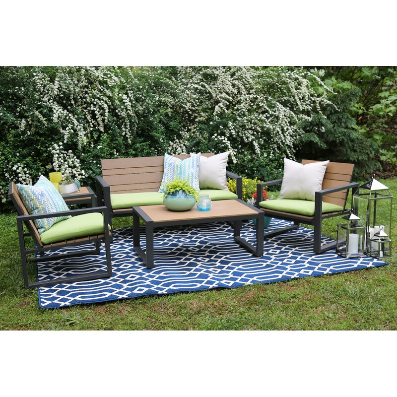 Ae Outdoor Connelly 5 Piece Sunbrella Sofa Set With Cushions Reviews Wayfair