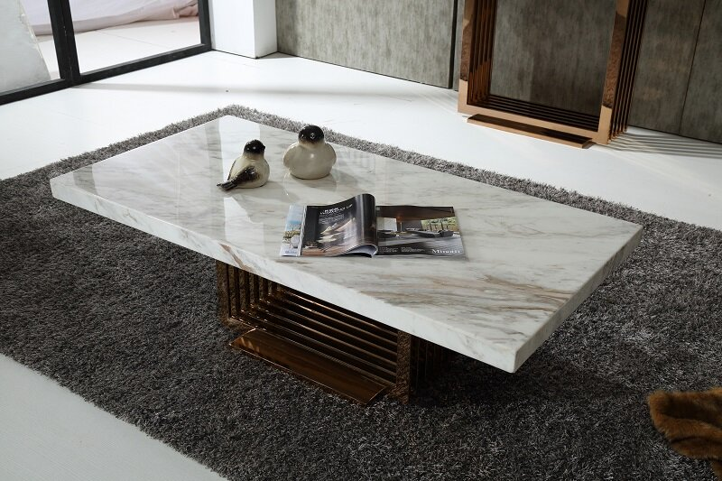 Rose Gold Marble Coffee Table Wayfair - Rectangle white marble coffee table