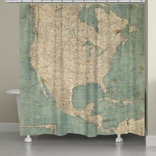 North America Map Single Shower Curtain