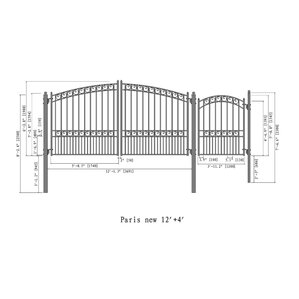 Steel Dual Swing Driveway Gate Paris Styl..