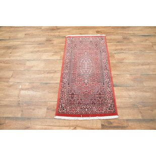 Savings One-of-a-Kind Gerena Bidjar Persian Classical Traditional Hand-Knotted 2'5 x 4'9 Wool Red/Black Area Rug By Isabelline